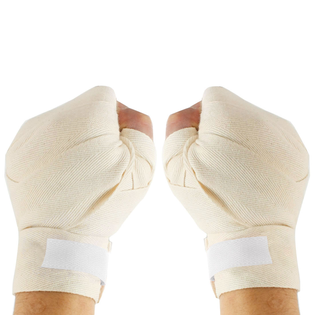 Hook Loop Closure Off-White Boxing Hand Supporter Wraps Bandages Pair