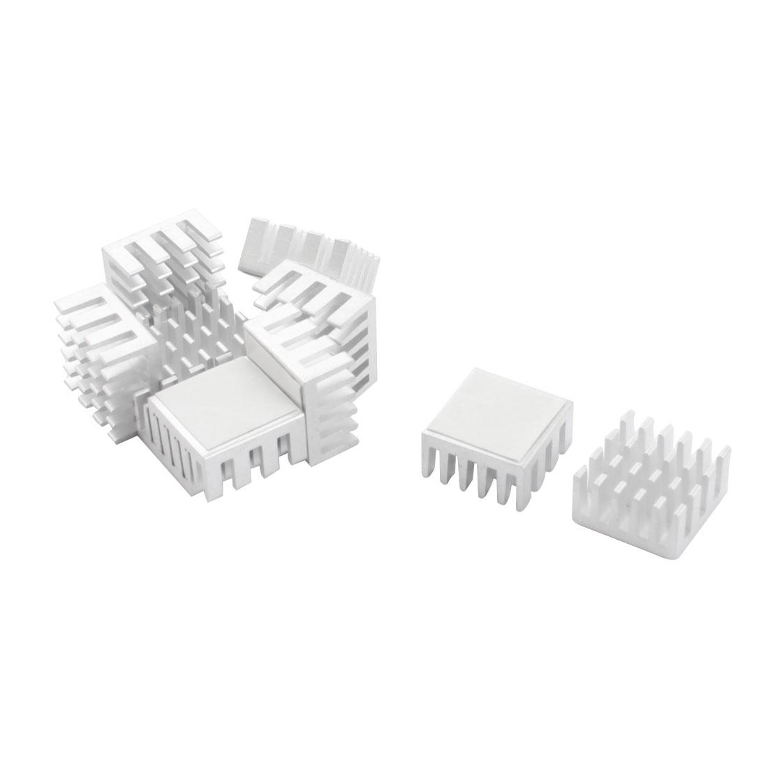 10 Pcs Aluminum Heatsink Heat Sink Cooling Fin Cooler 15mmx15mmx8mm Silver Tone