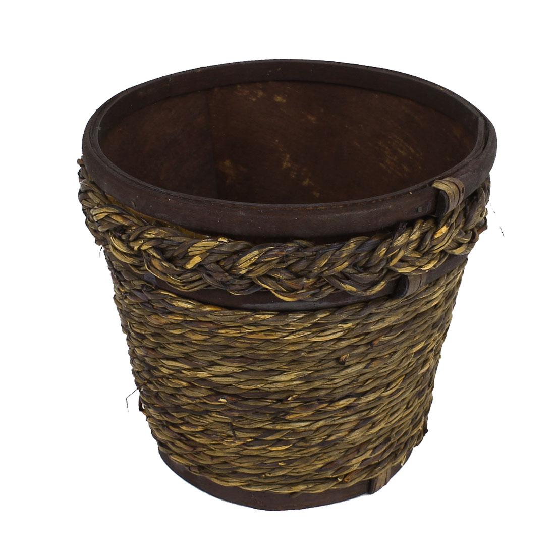 Wooden Frame Rattan Weave Craft Manmade Flowers Basket Holder Decor Brown