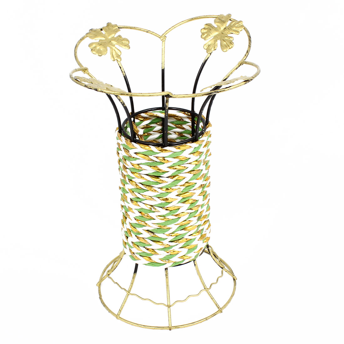 Bronze Tone Metal Frame Green Weave Craft Manmade Flowers Vase Holder