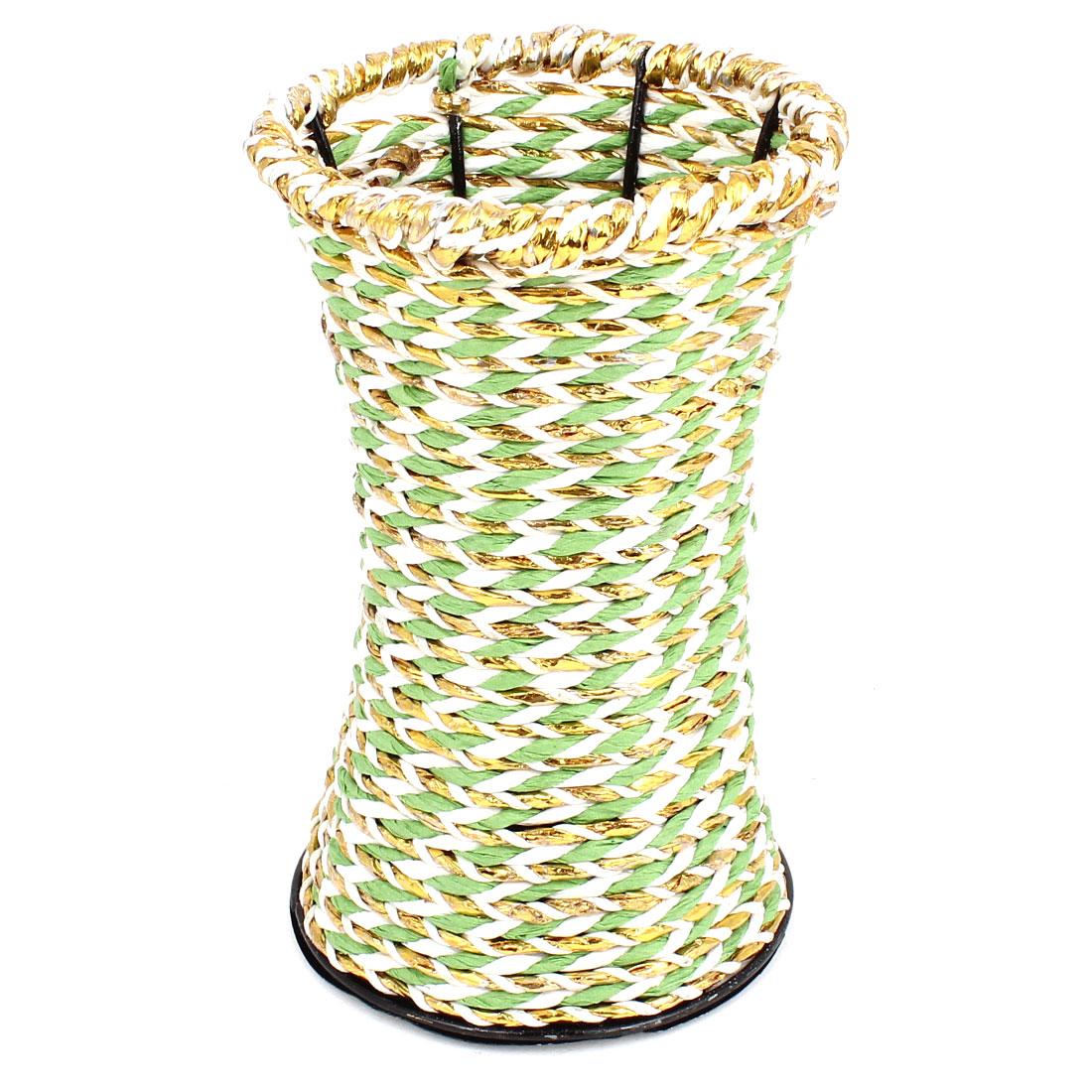 Metal Frame Gold Tone Green Weave Craft Manmade Flowers Vase Decor