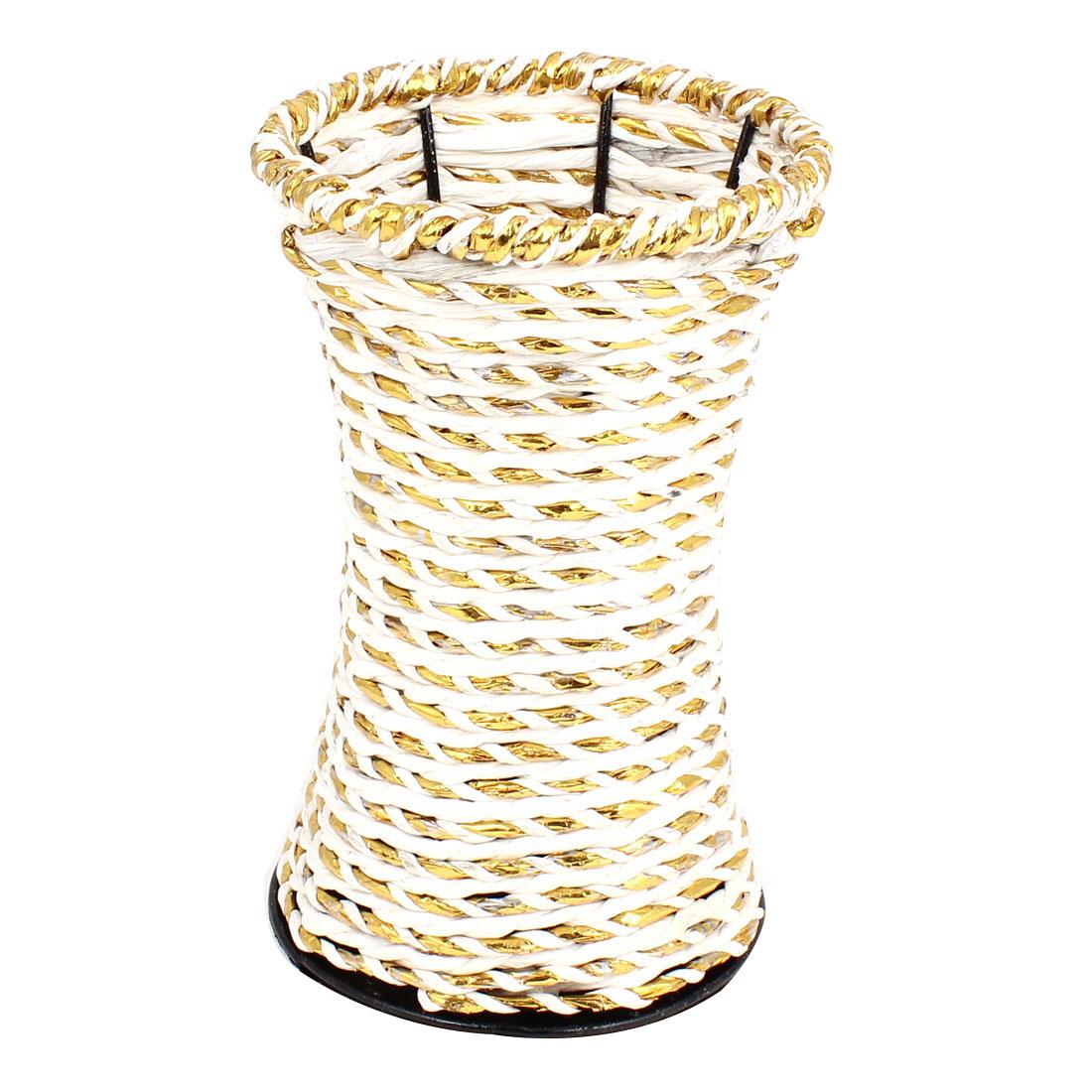 Metal Frame Gold Tone White Weave Craft Manmade Flowers Basket Holder