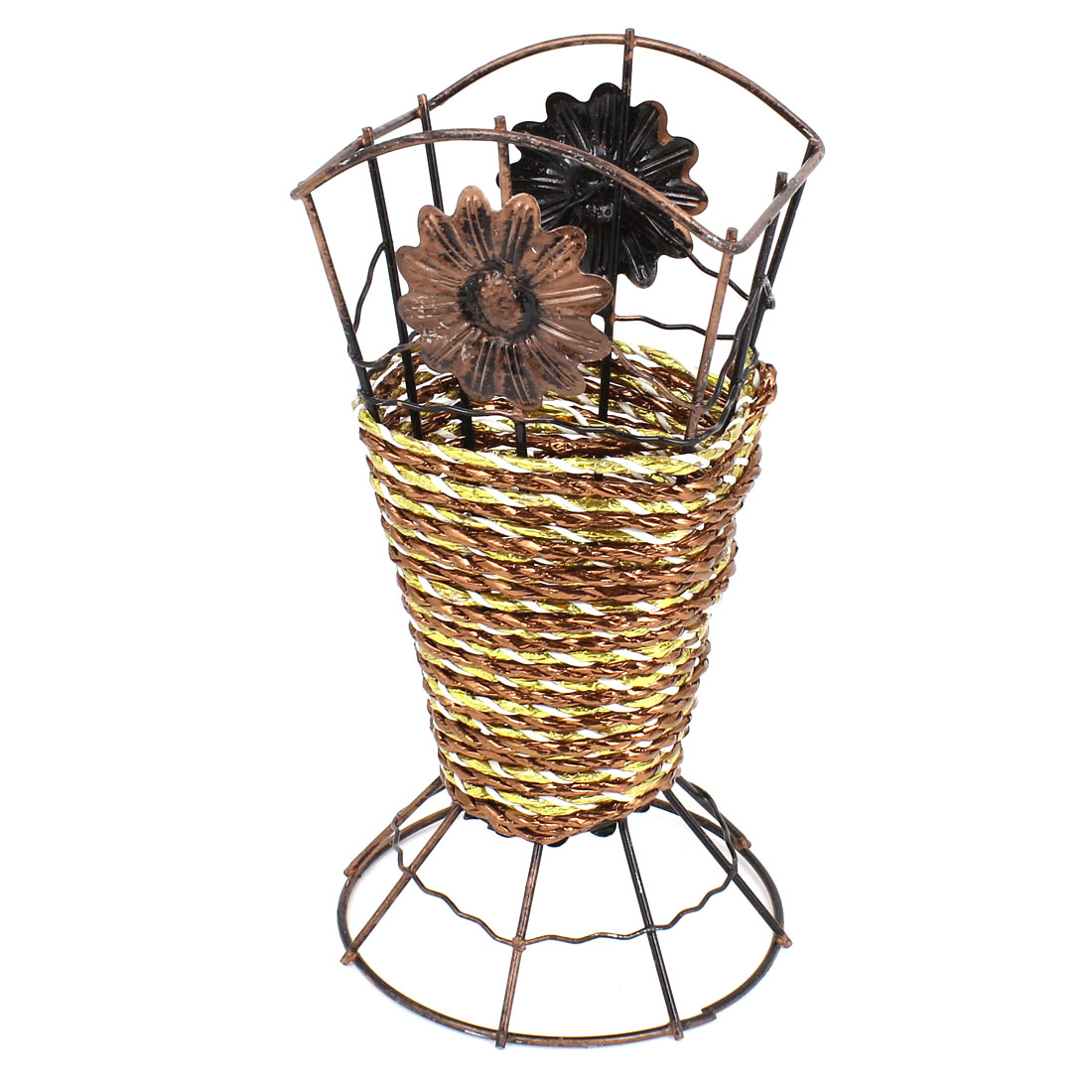 Copper Color Metal Frame Brown Weave Artificial Flowers Vase Basket Decor
