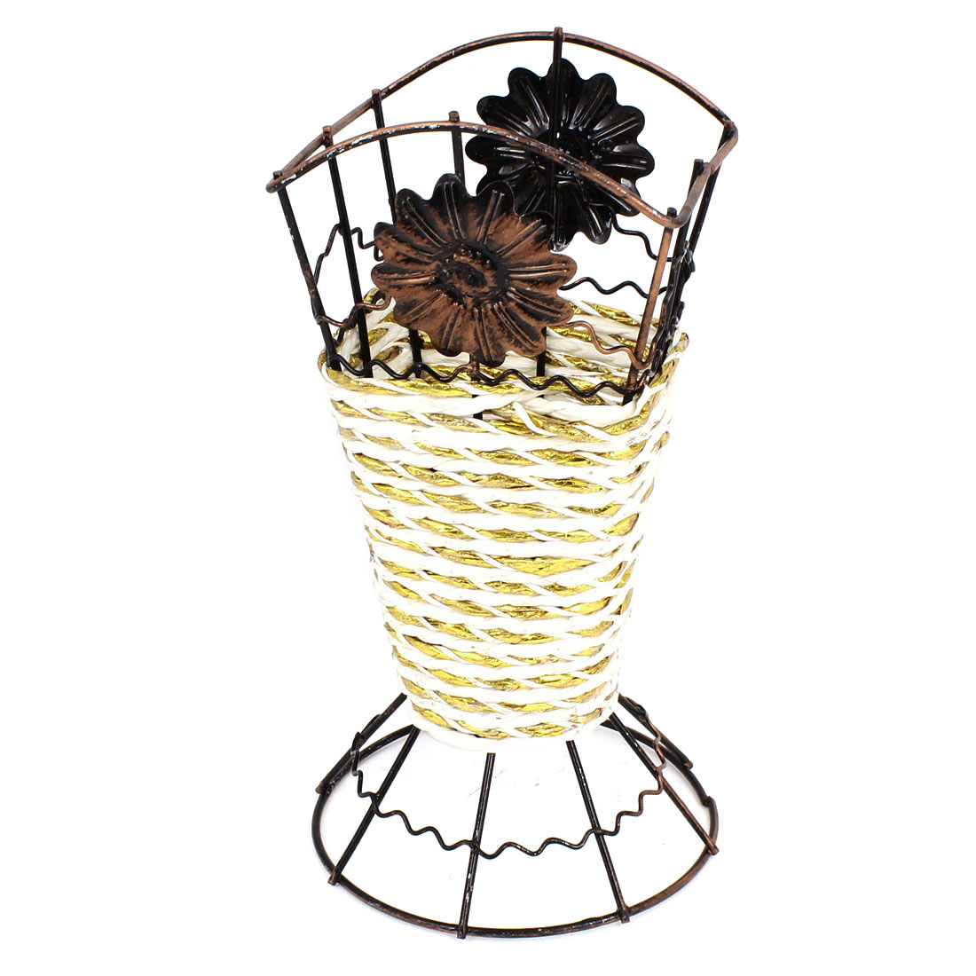 Copper Tone Metal Frame Weave Craft Artificial Flowers Vase Basket White