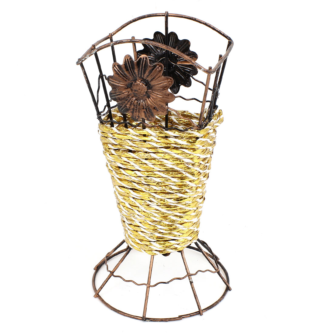 Copper Color Metal Frame Gold Tone Weave Artificial Flowers Vase Basket