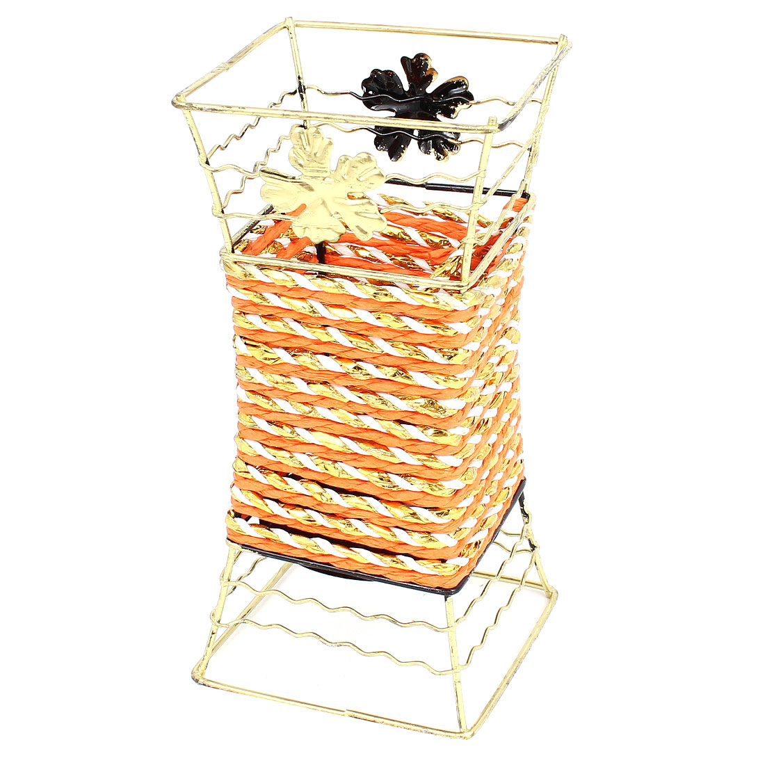 Copper Tone Metal Frame White Paper String Decor Craft Flowers Vase Basket