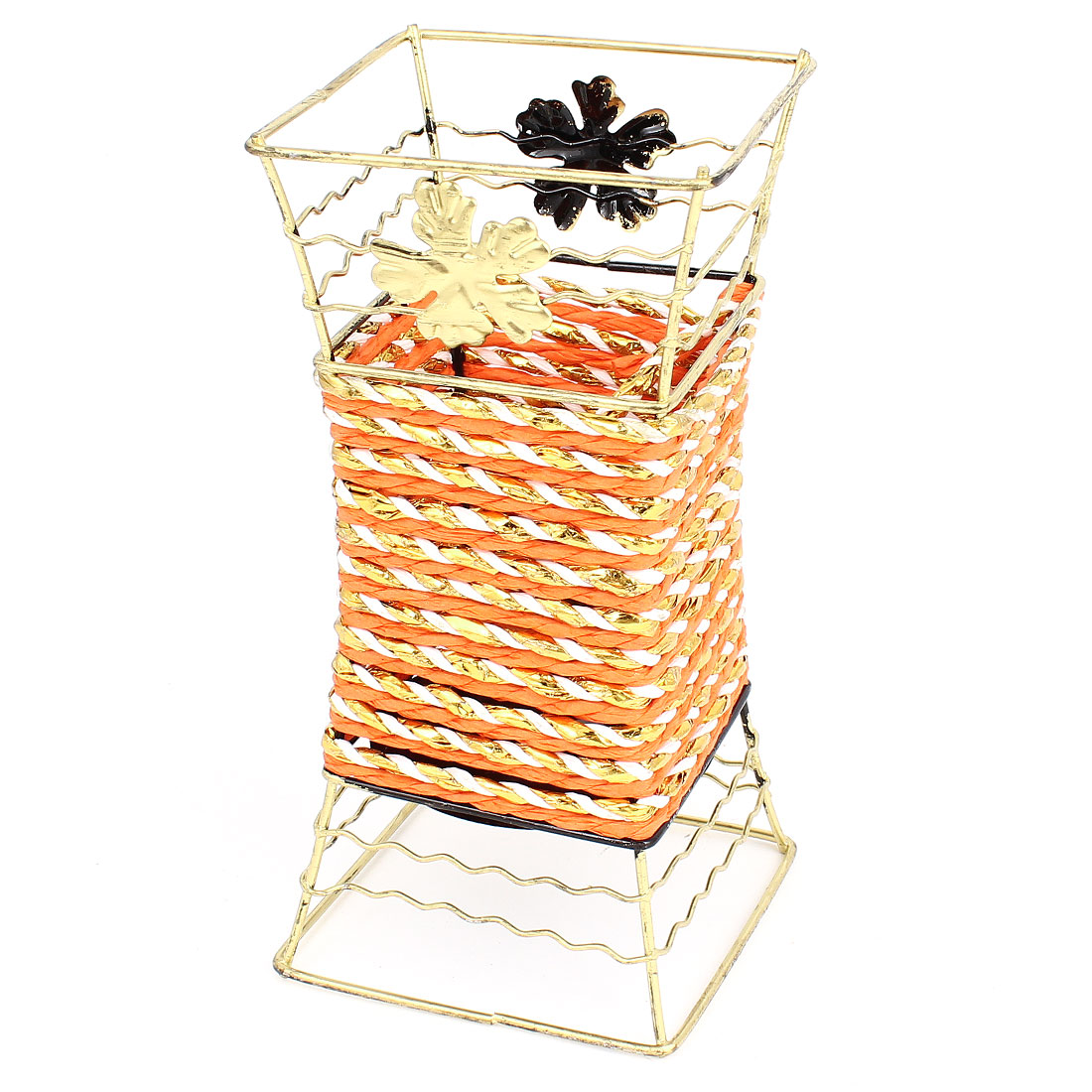 Bronze Tone Metal Frame Orange Woven Artificial Flowers Basket Desktop Decor
