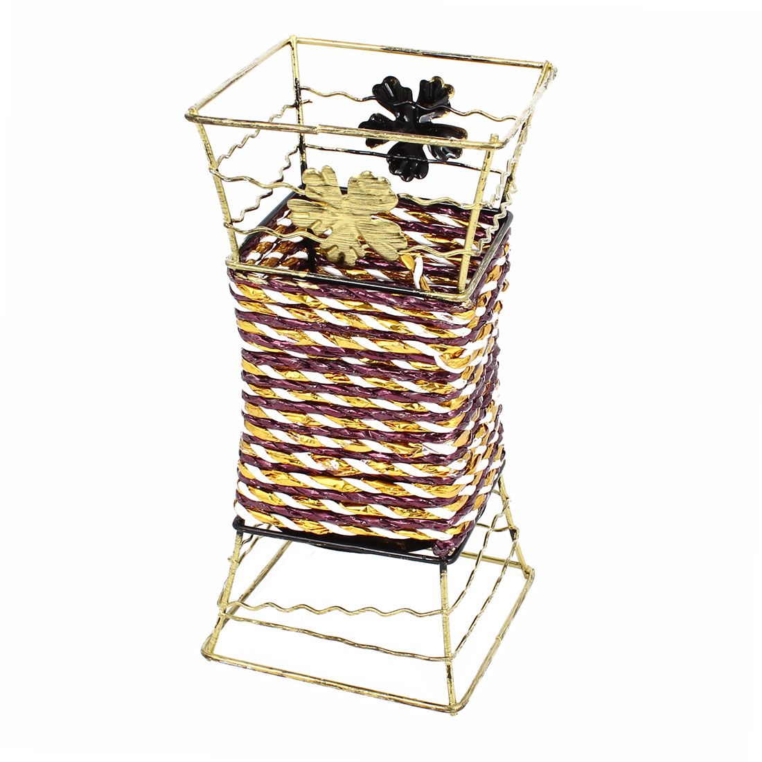 Bronze Tone Metal Frame Purple Woven Artificial Flowers Basket Desktop Decor