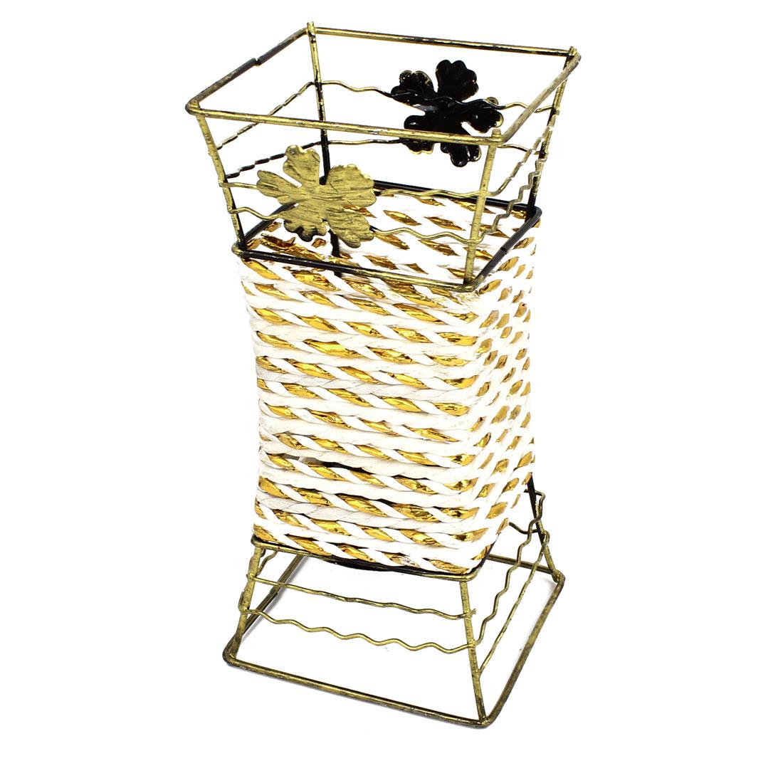 Bronze Tone Metal Frame White Woven Artificial Flowers Basket Desktop Decor