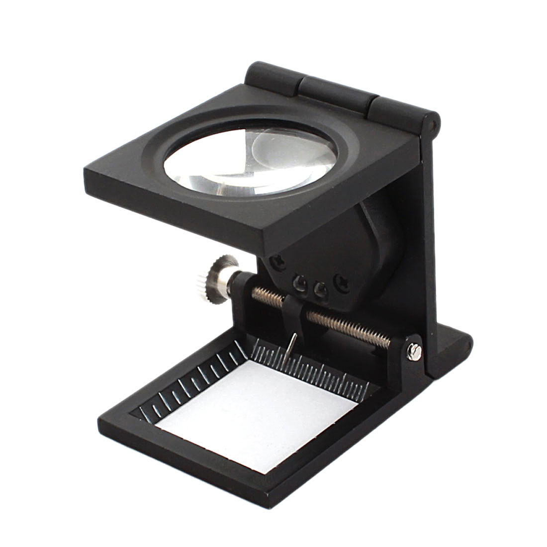 Folding Magnifier Measure Scale LED Light Magnifying Glass Black 4X