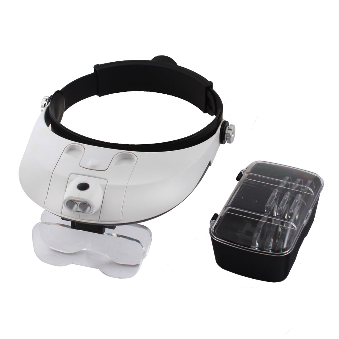 2-LED Head Light Adjustable Headband Magnifier Lens w 5Lens Set