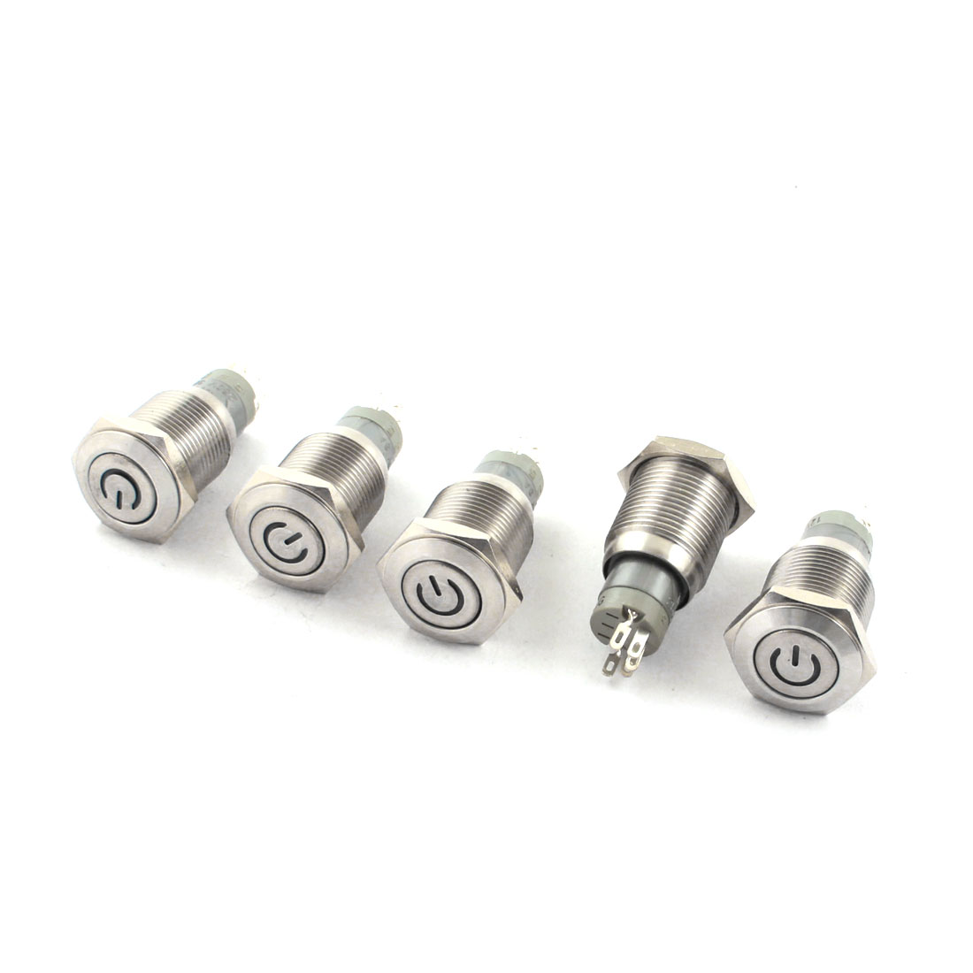 5Pcs DC 12V Green LED Angel Eye Indicator Light SPDT 1NO 1NC 5Pins 16mm Thread Locking Metal Push Button Switch