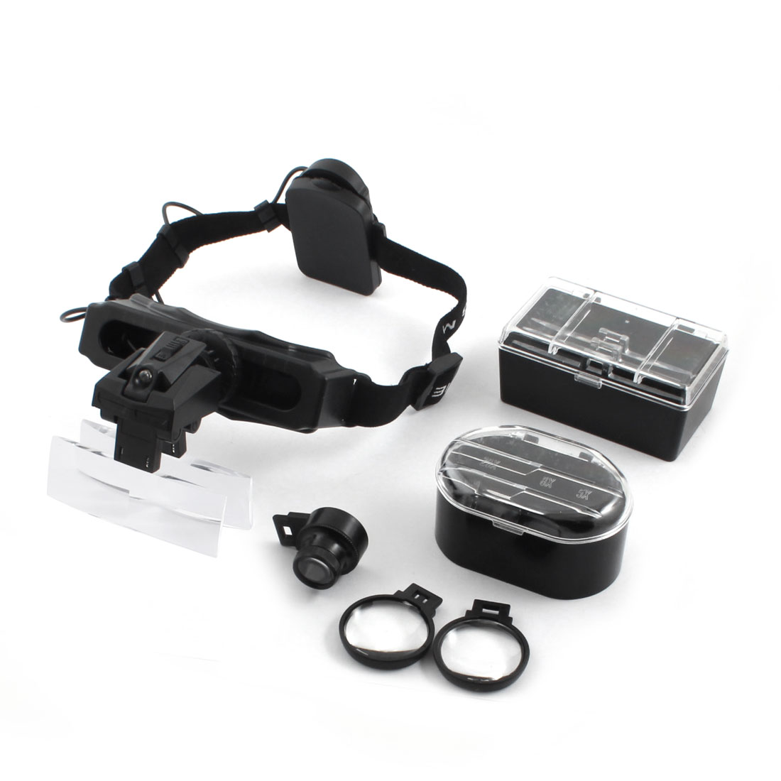 1.0X 1.5X 2.0X 2.5X Lens Loupes 2-LED Head Light Acrylic Adjustable Headband Magnifier