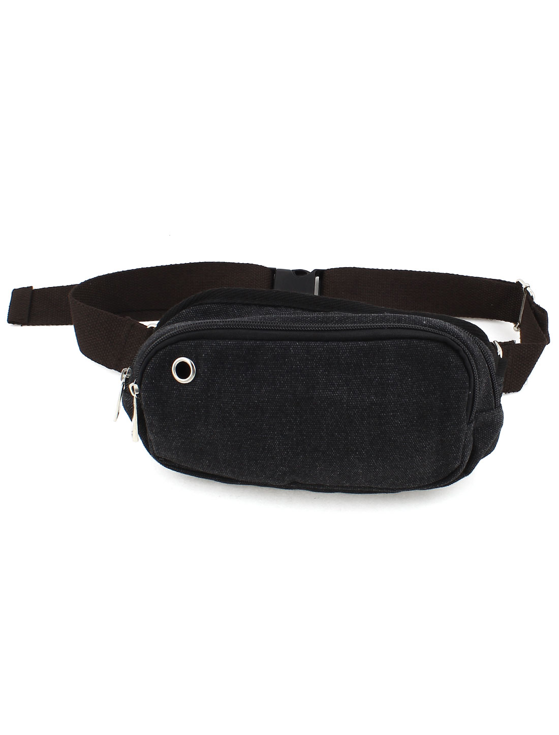 Mens Black Canvas Ajustable Strap 2 Zip Closure Bag Casual Waist Pack