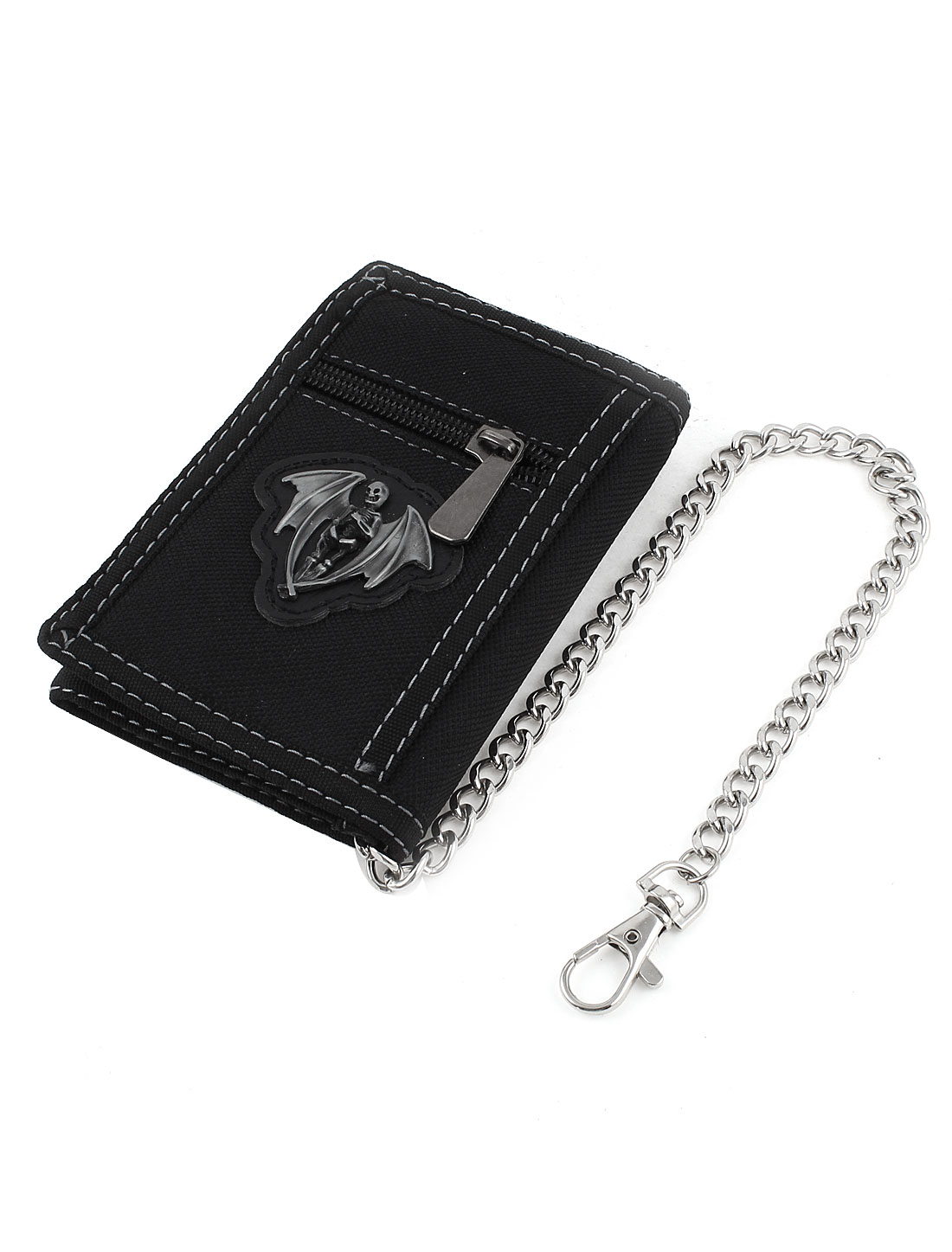 ID Pockets Silver Tone Chain Flip Open Trifold Style Wallet Purse Black for Men