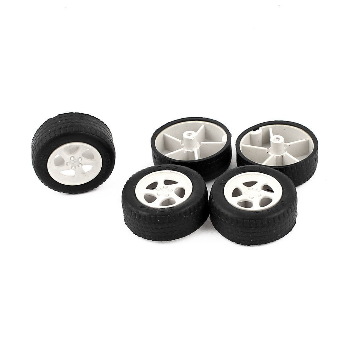 5Pcs 38mm Dia Rubber Roll Plastic Spoke Car Auto Model Toys Wheels