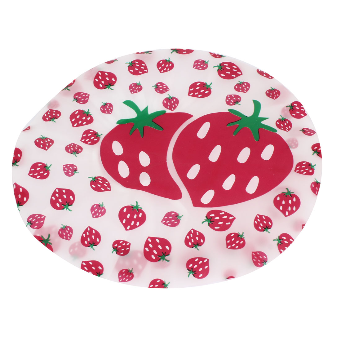 Red White Elastic Bottom Strawberry Pattern Water Resistant Shower Cap Hat for Ladies