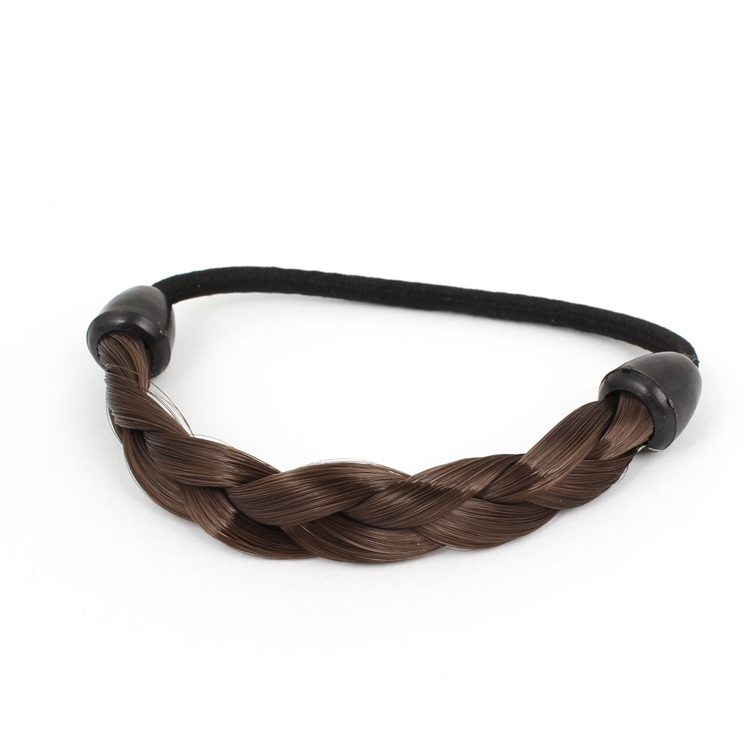 Dark Brown Braided Elastic Wig Ponytail Hair Tie Band for Woman