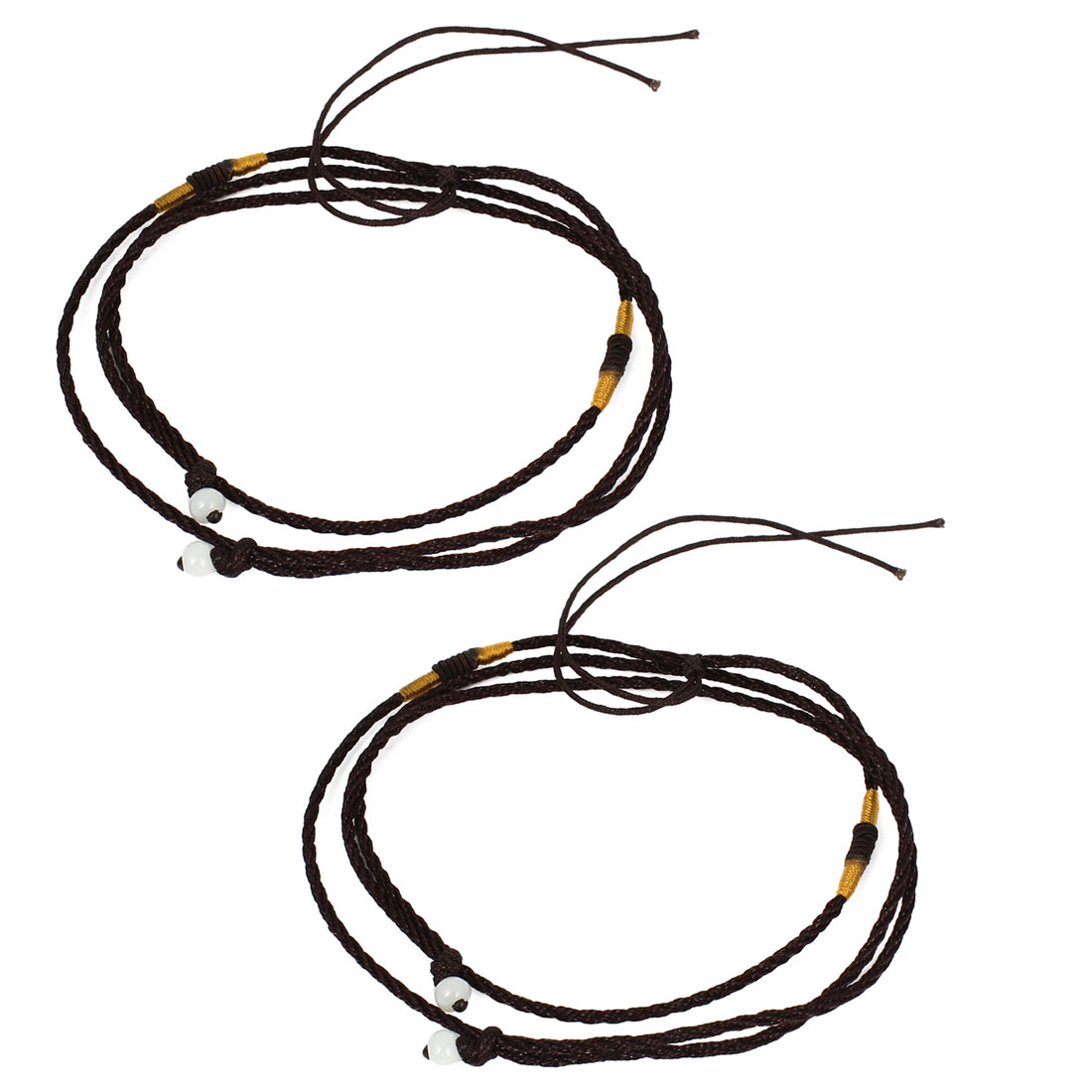 2Pcs Dark Brown Round Beads Decor Adjustable Braided Nylon DIY Necklace Pendant String Rope