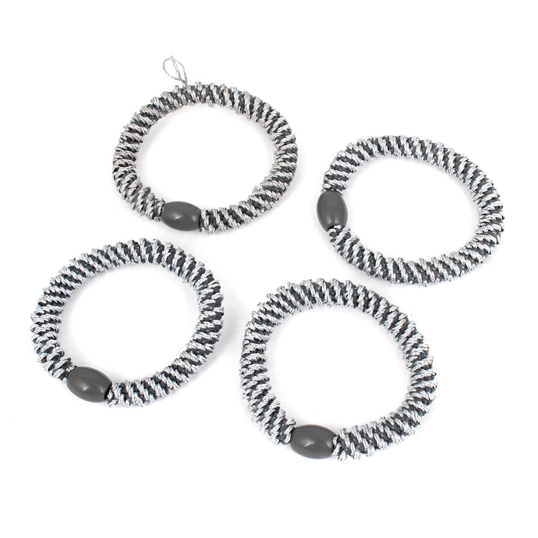 4Pcs Light Gray Plastic Beads Detail Elastic Tie Ponytail Holders for Ladies