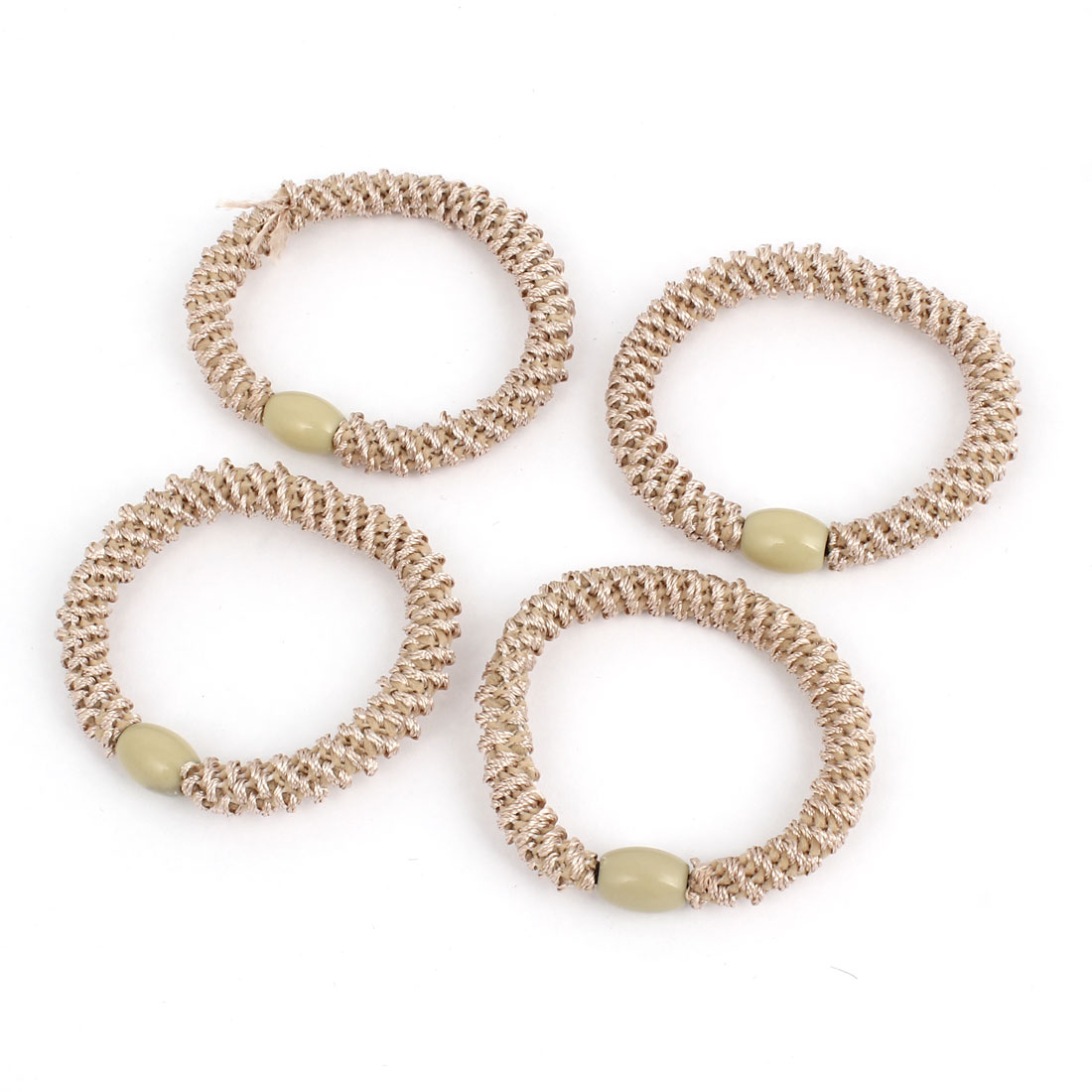4Pcs Beige Plastic Beads Detail Elastic Tie Ponytail Holders for Ladies