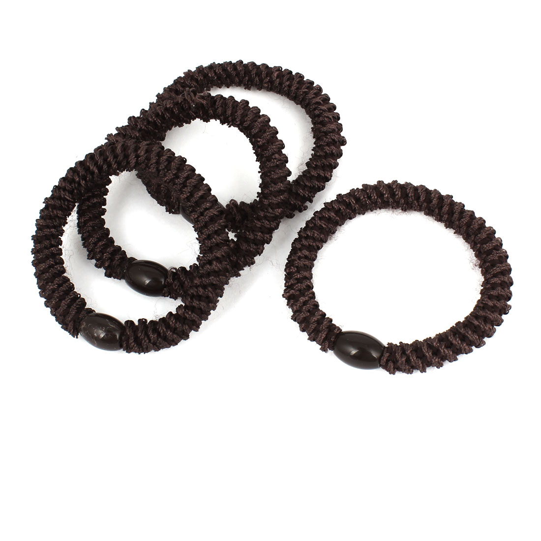 4Pcs Dark Brown Plastic Beads Detail Elastic Tie Ponytail Holders for Ladies