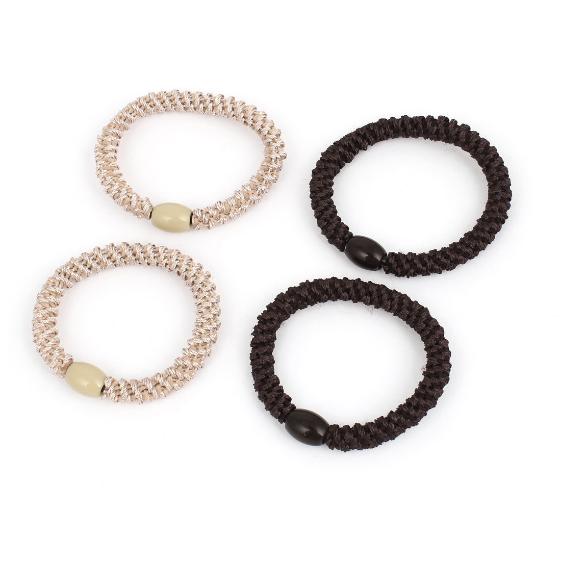 4Pcs Dark Brown Beige Plastic Beads Detail Elastic Tie Ponytail Holders for Ladies