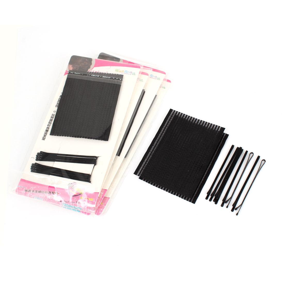 5 Bags Black Make Up Magic Sheet + Bobby Pin DIY Hairstyle Holding Foretop Hair Bangs