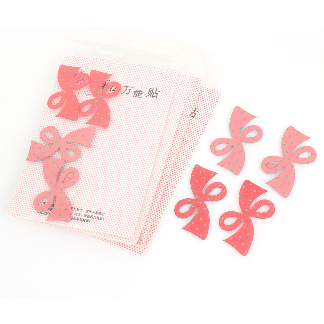 5 Bags Pink Red Nylon Bowknot Shape Dot Pattern Foretop Hair Magic Sheet