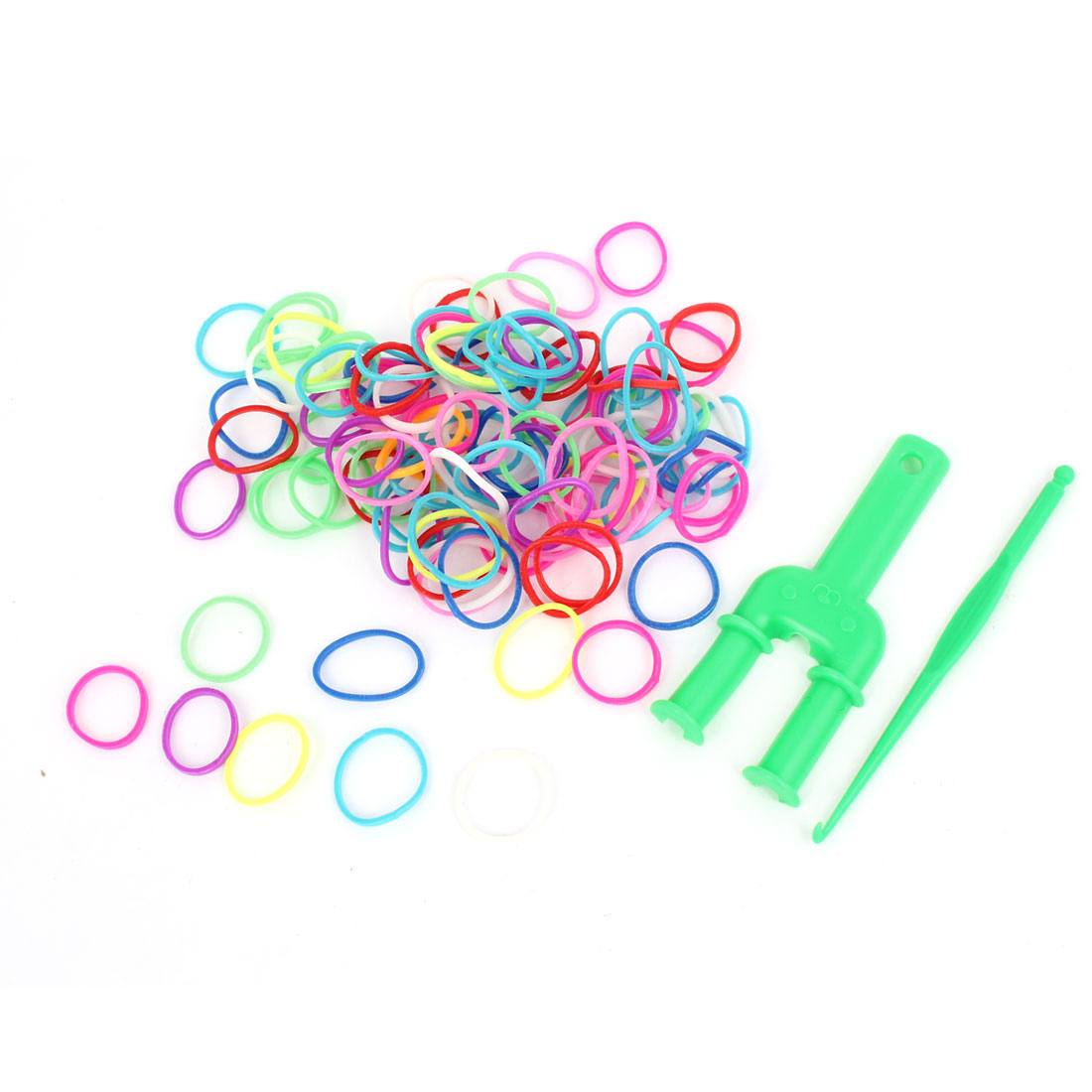 Rainbow Colourful Elastic Soft Rubber Loom Bracelet DIY Making Kit