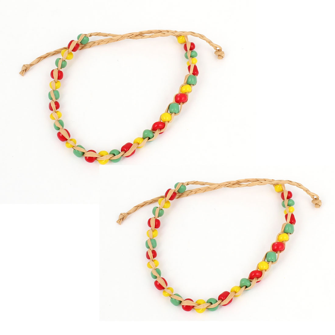 2Pcs Green Red Yellow Adjustable Hand-knitting Beads Straw Woven Bracelet for Women