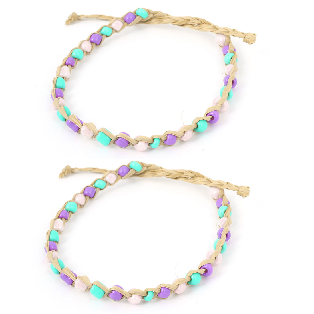 2 Pcs Green Purple Pink Adjustable Hand-knitting Beads Straw Woven Bracelet for Women