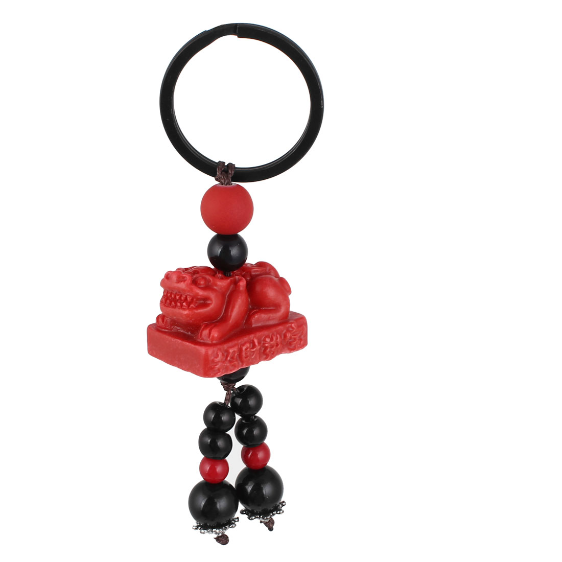 Red Plastic Lion Beads Pendant Keyring Key Chain Hang Decoration Key Holders