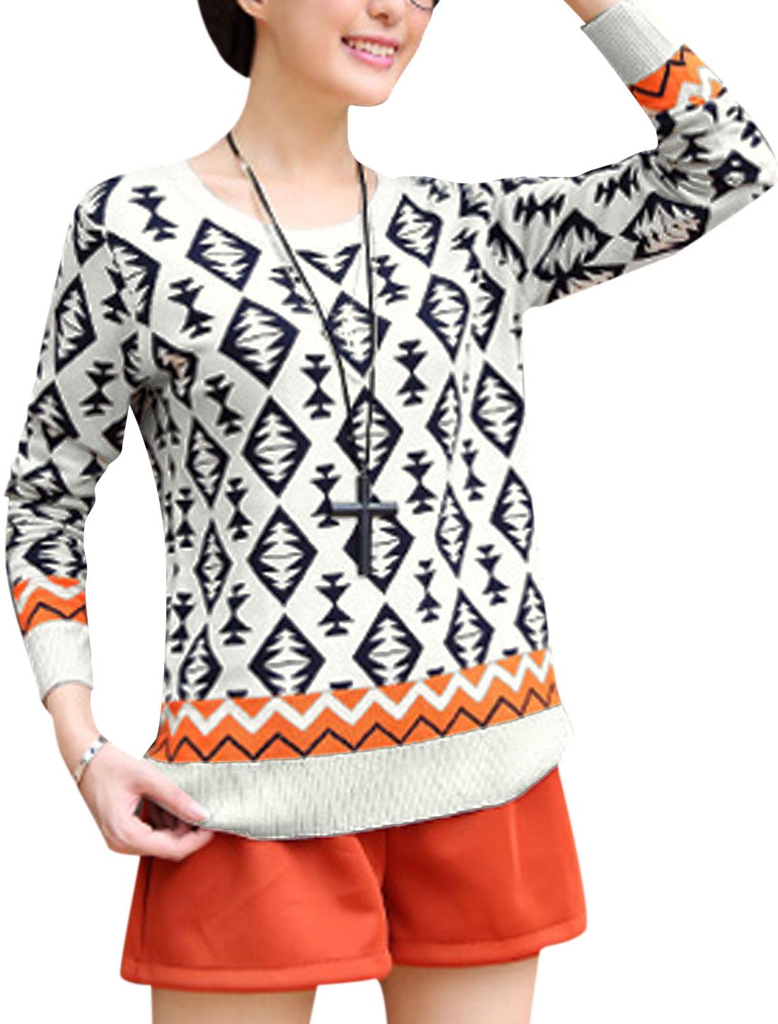 Women Round Neck Geometric Zig-Zag Pattern Sweater Beige S