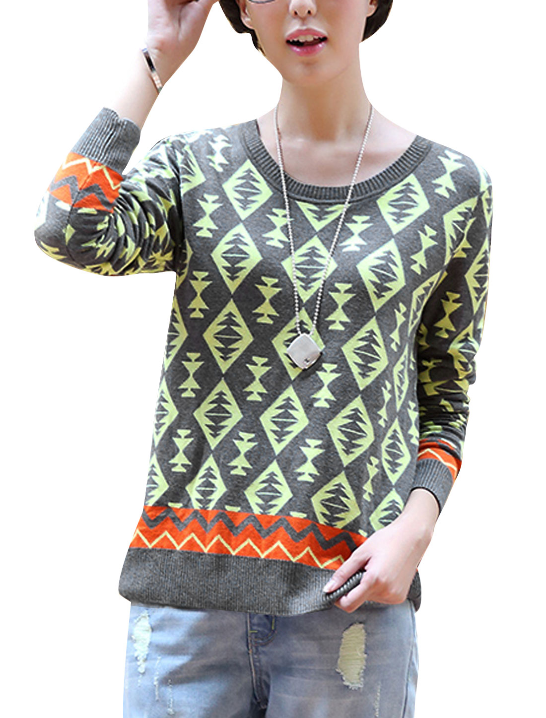 Lady Slipover Geometric Zig-Zag Pattern Long Sleeve Sweater Gray S