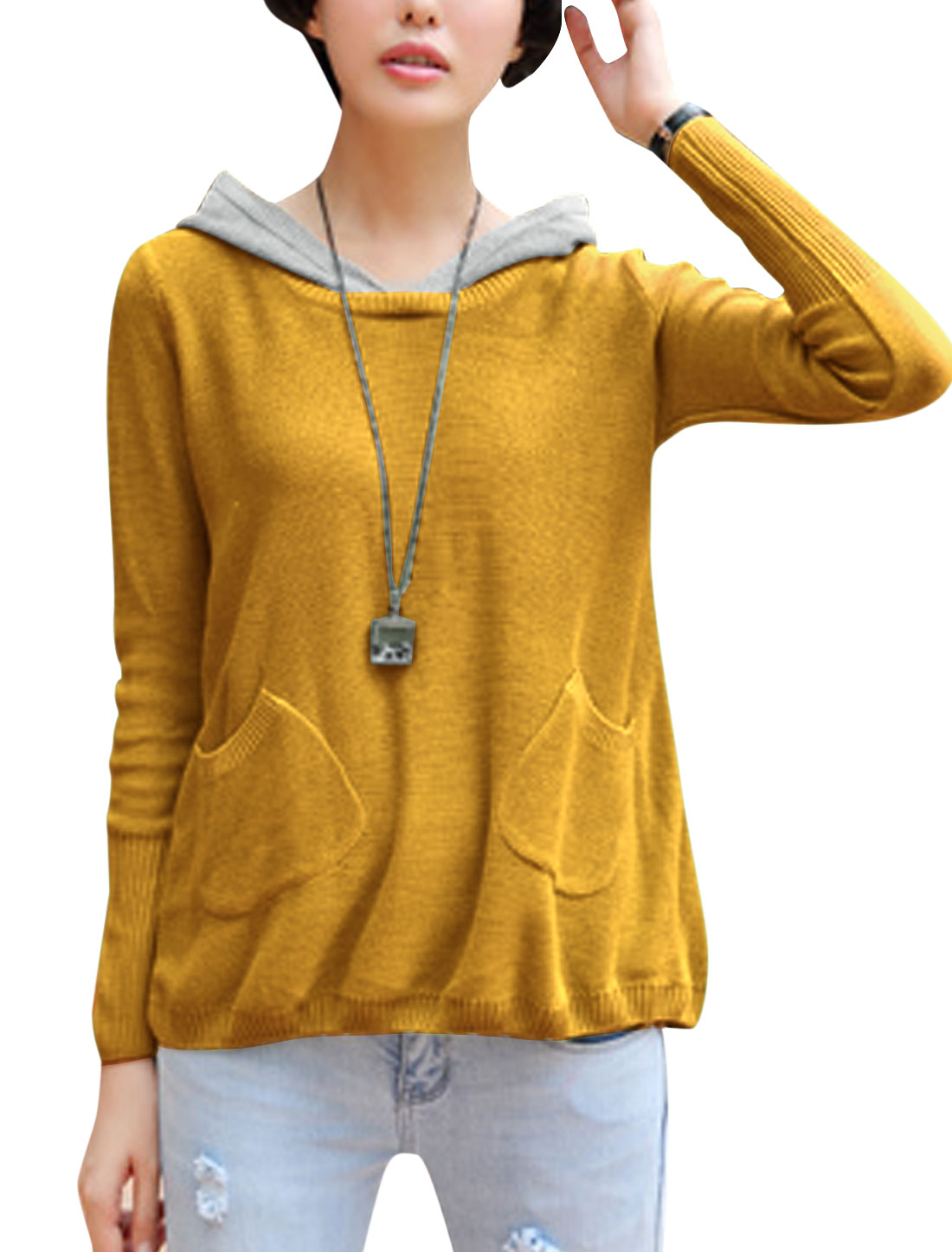 Lady Patch Pocket Front Color Block Casual Hooded Sweater Ochre S