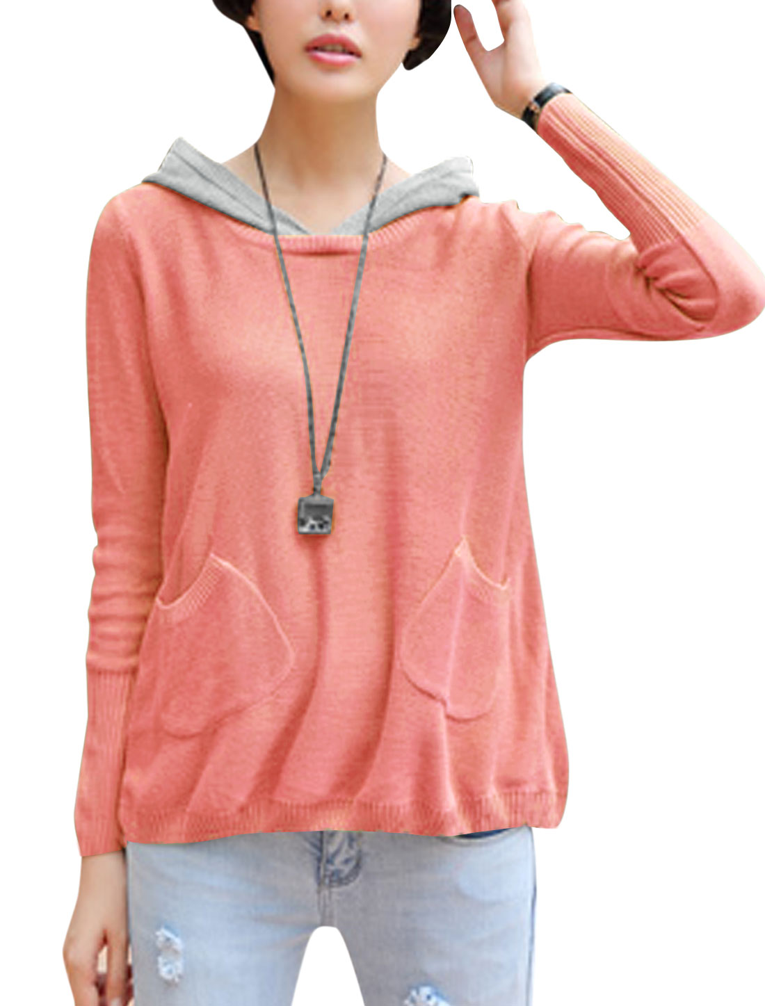 Lady Pullover Long Sleeve Split Back Design Cozy Fit Hooded Sweater Light Pink S