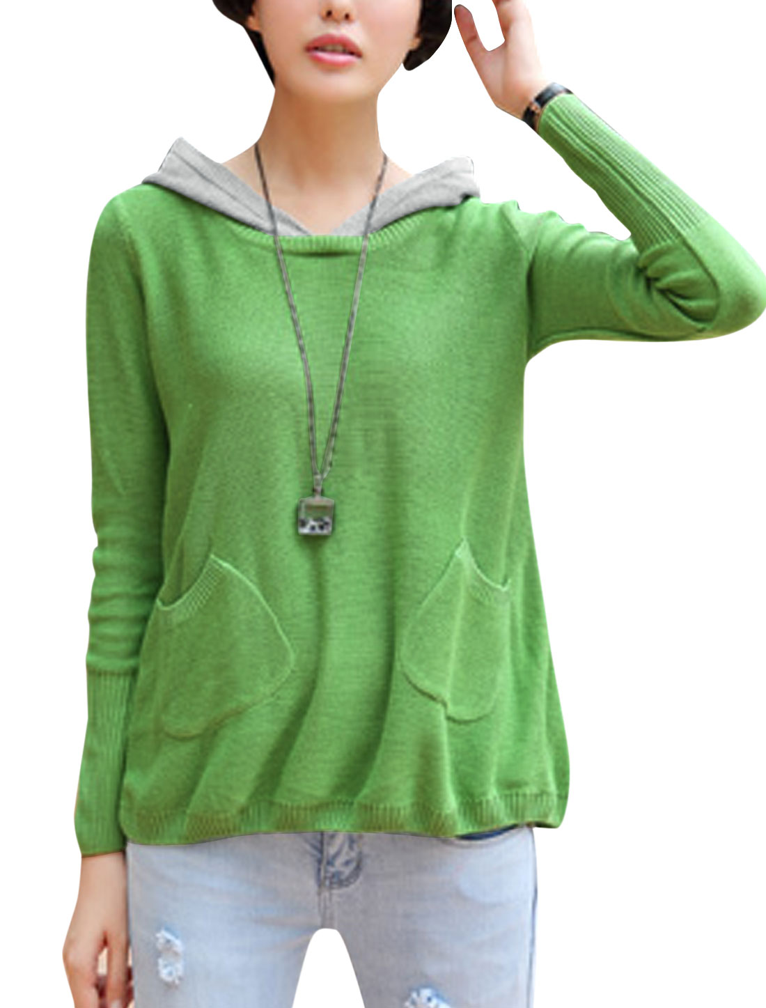 Cozy Fit Leisure Button Decor Back Hooded Sweater for Lady Light Green S
