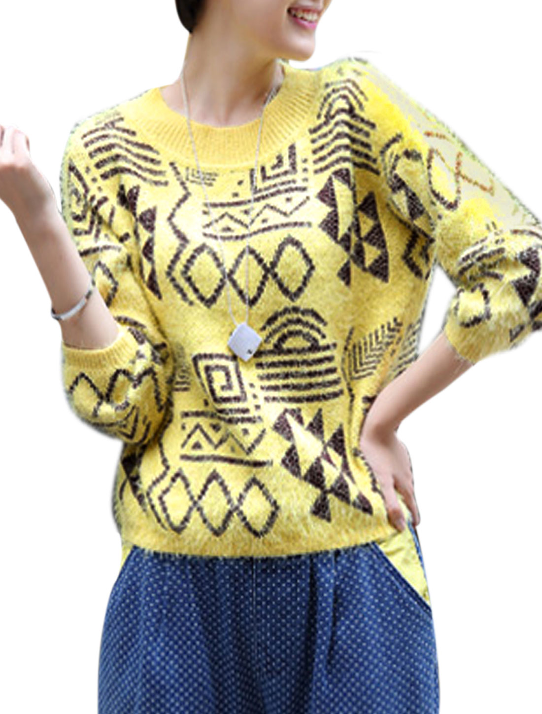 Lady Crew Neck Long Sleeve Ribbing Hem Pullover Sweater Yellow M