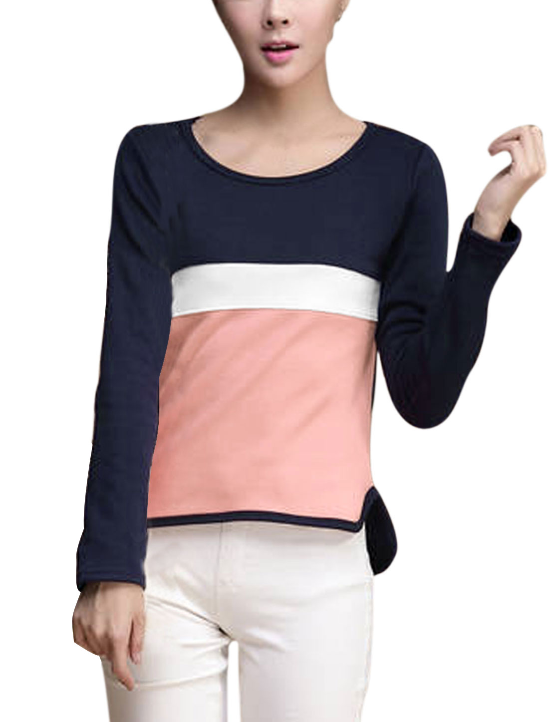 Women Round Neck Pullover Long Sleeve Color Block Tee Shirt Navy Blue XS