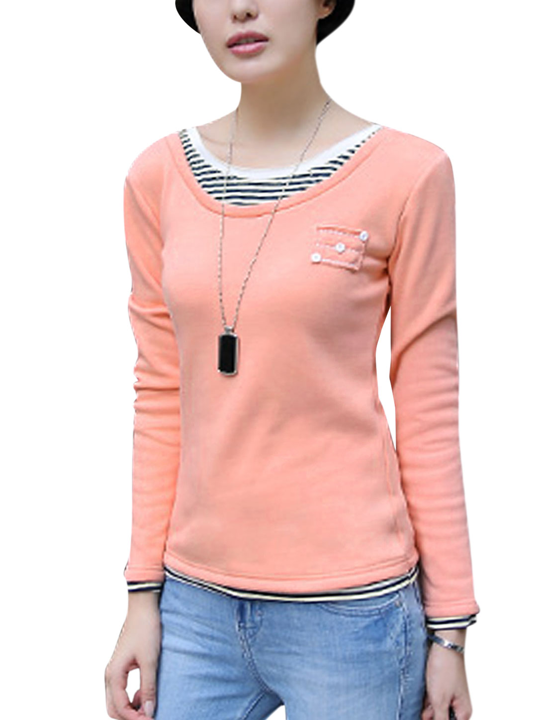 Women Round Neck Pullover Long Sleeve Layered Shirts Tee Shirt Salmon S