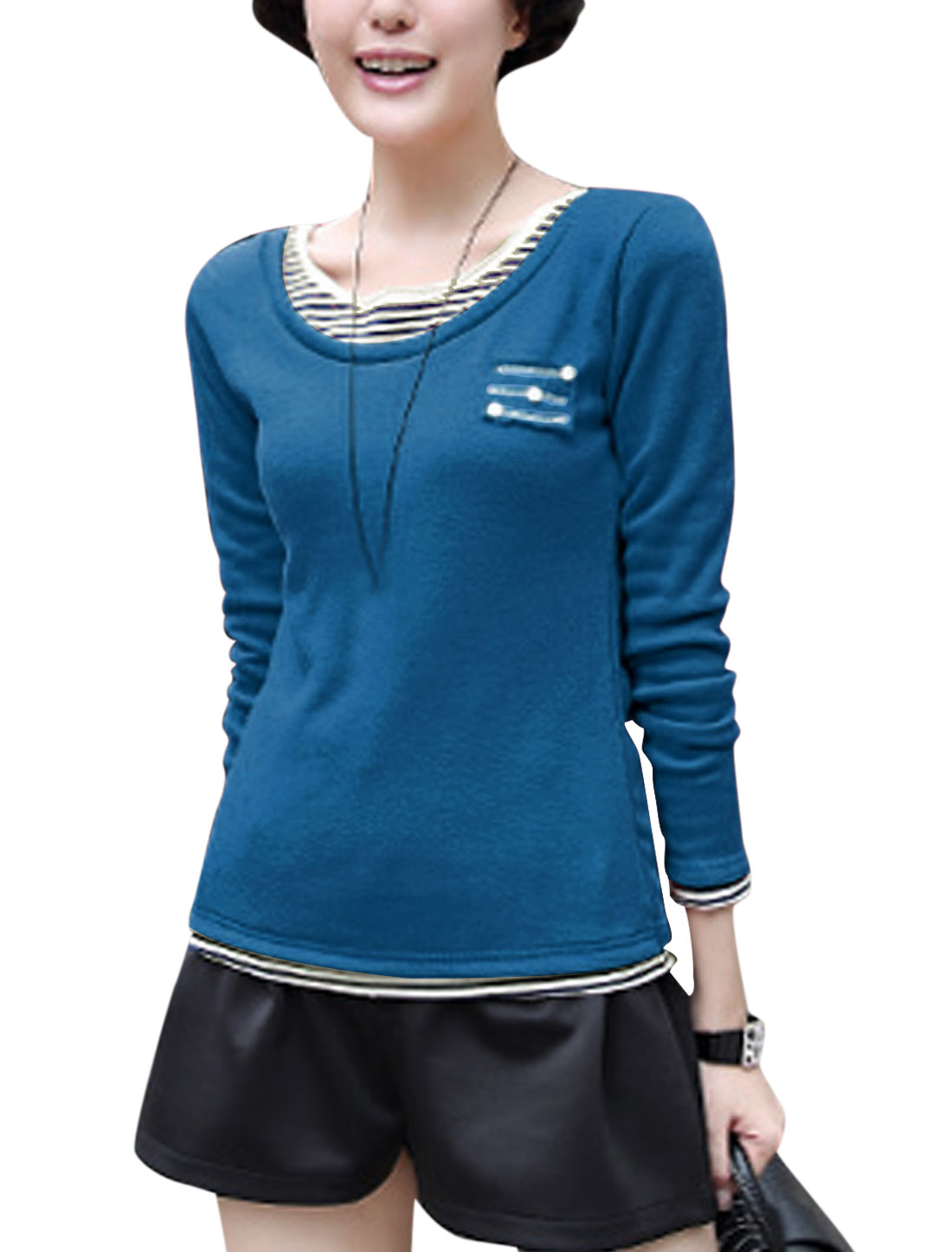 Women Round Neck Pullover Layered Shirts Tee Shirt Dark Blue S