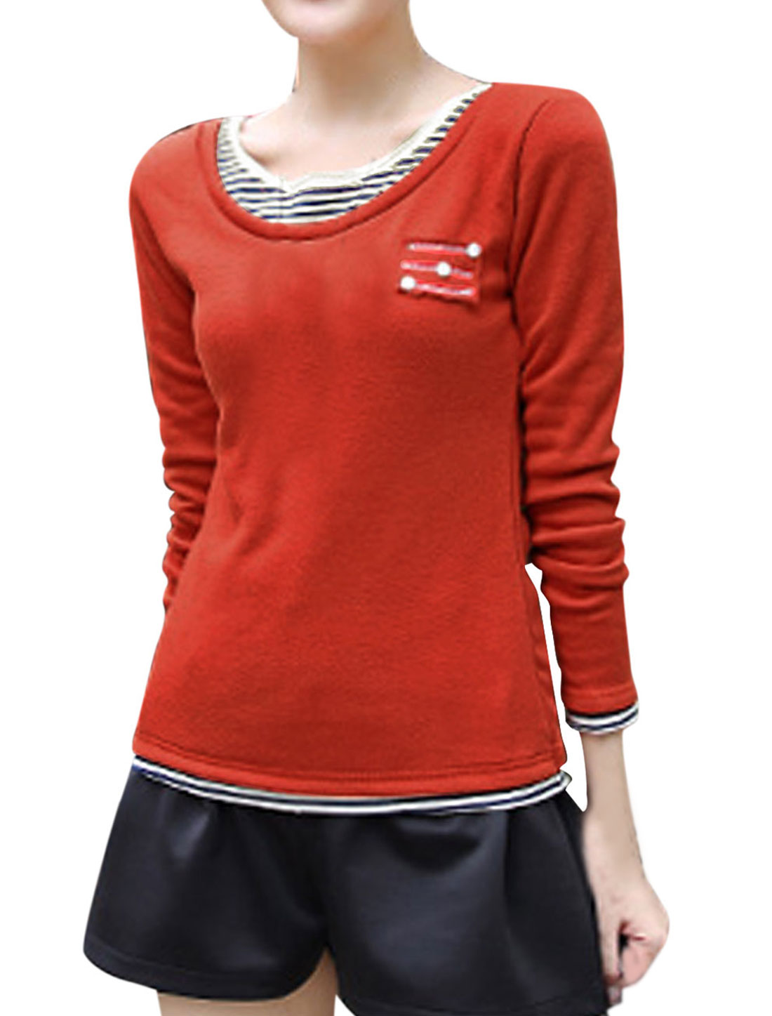 Women Pullover Long Sleeve Layered Shirts Tee Shirt Warm Red S