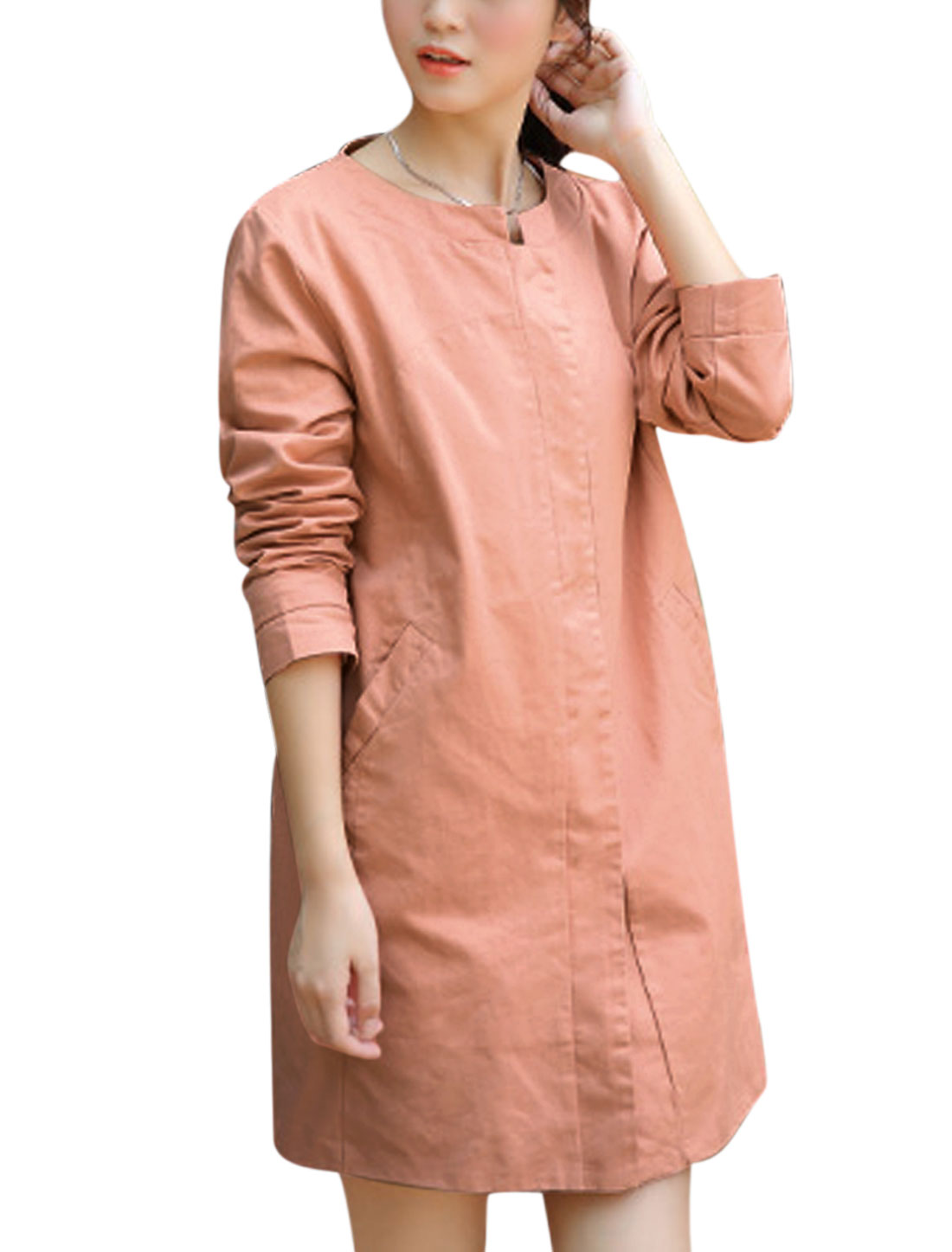 Lady Round Neck Buttons Closure Front Trench Coat Salmon L