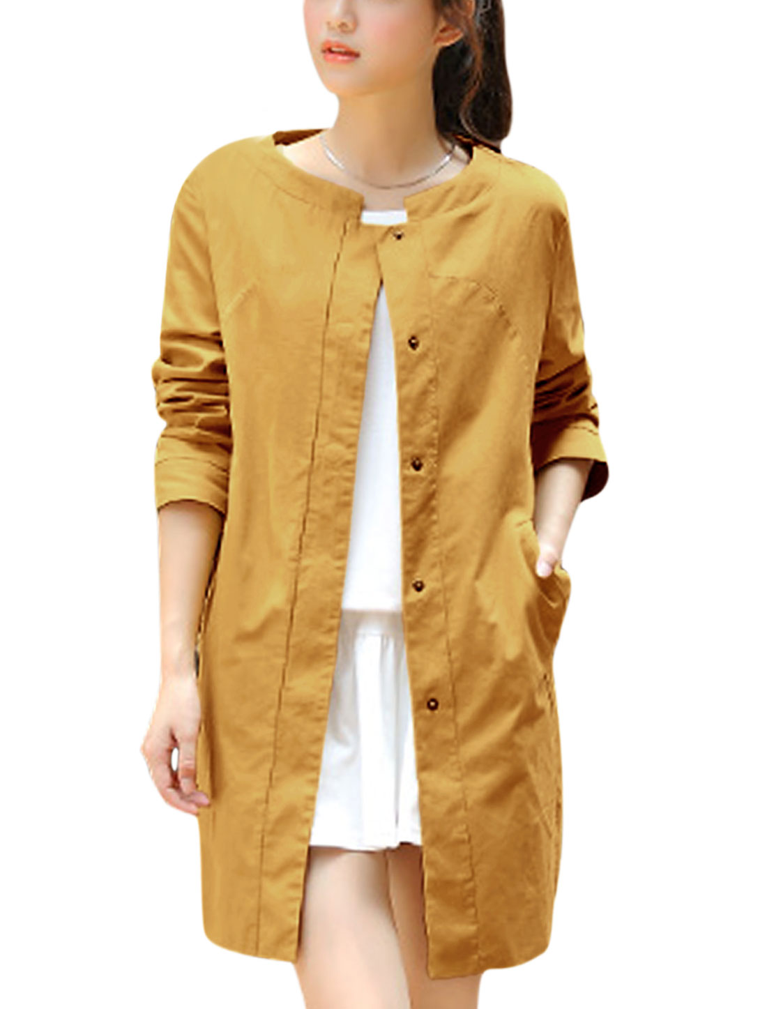 Lady Long Sleeve Round Neck Buttons Closure Front Trench Coat Ochre L