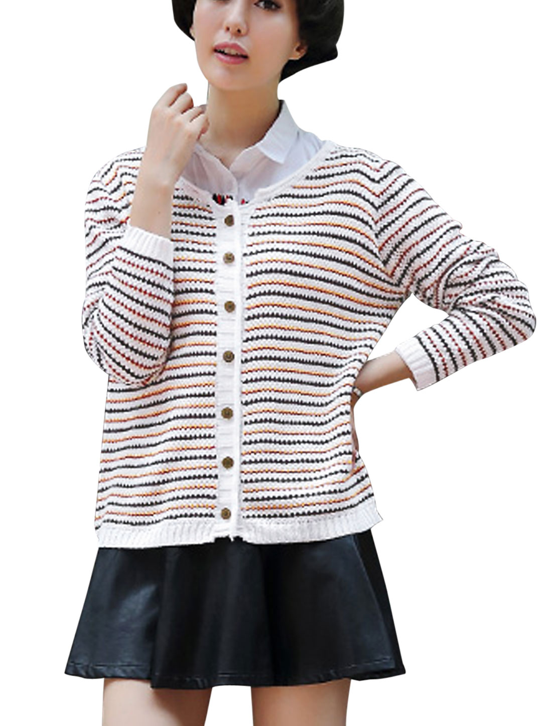 Long Sleeve Round Neck Stripes Pattern Single Breasted Cardigan White S