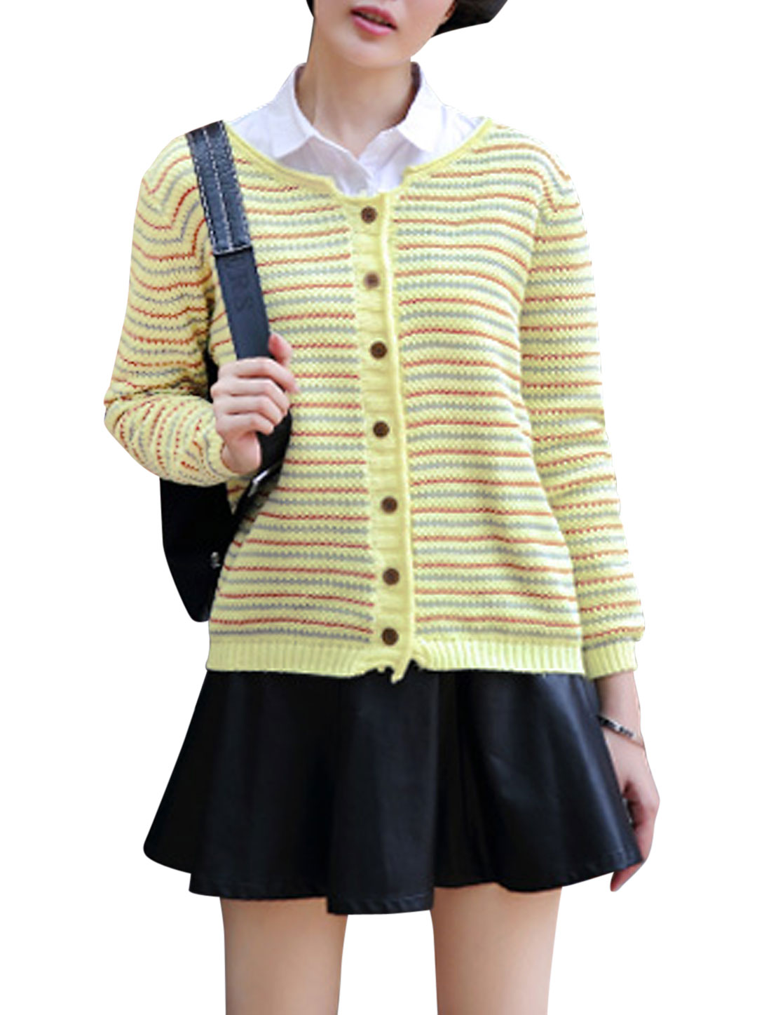 Lady Long Sleeve Stripes Pattern Single Breasted Casual Cardigan Light Yellow S