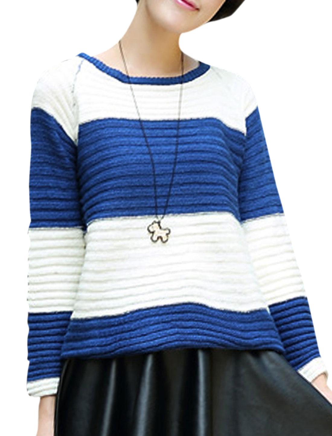 Lady Pullover Round Neck Stripes Pattern Sweater Blue White M