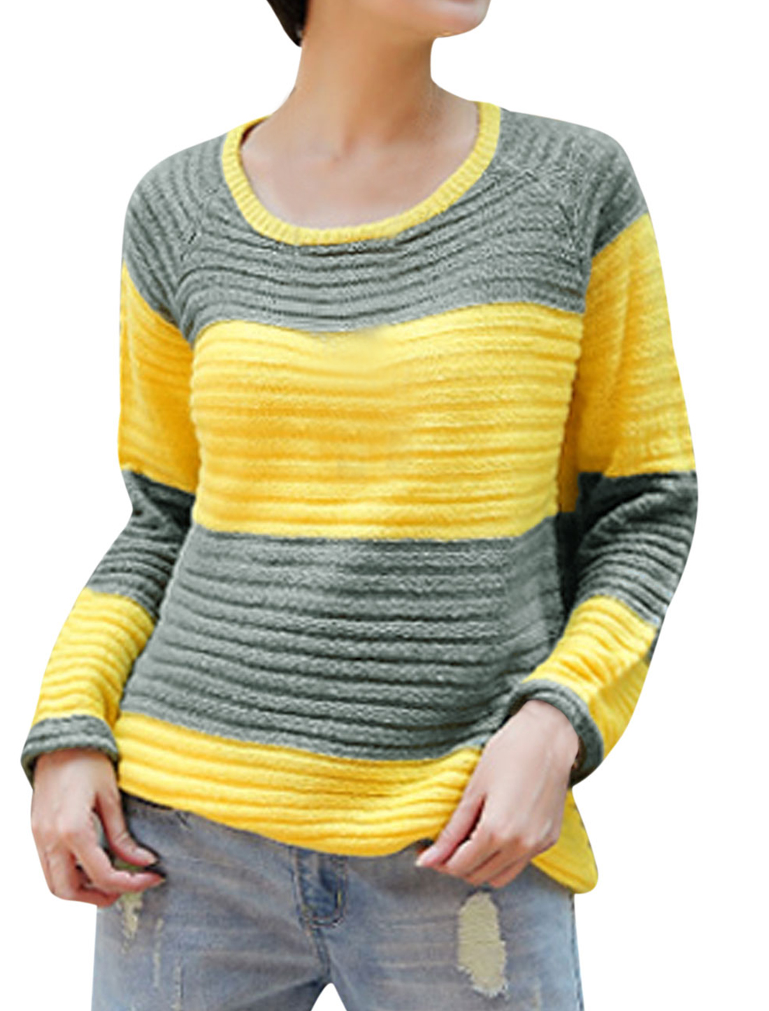 Lady Pullover Long Raglan Sleeve Stripes Pattern Sweater Yellow Gray M