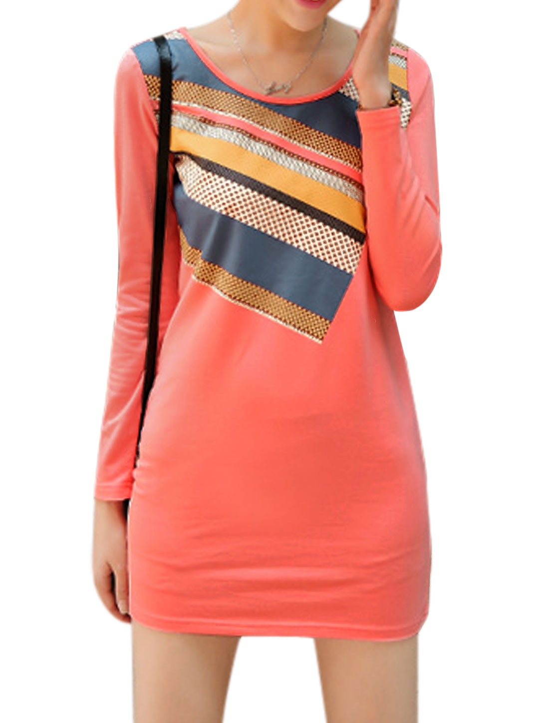 Lady Soft Long Sleeves Dots Stripes Print Casual Dress Coral Pink M